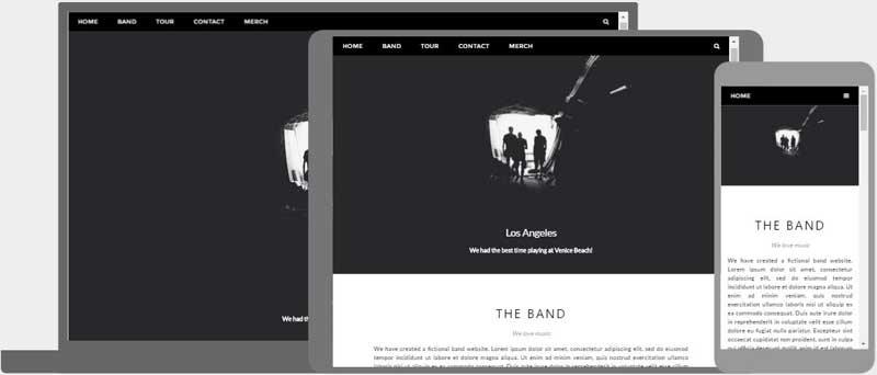 Responsive web design templates band template pronofoot35fo Gallery