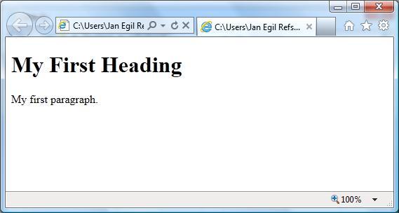 اولین صفحه HTML در مرورگر IE