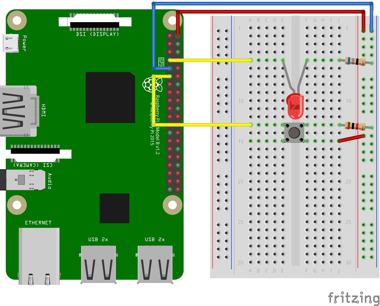Node js Raspberry Pi LED and Pushbutton