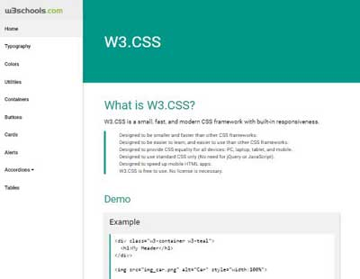 W3 css demos for Material design table css