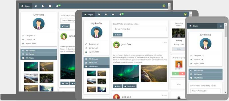 W3 css templates for Social networking sites free templates download